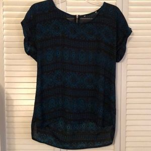 Black & Teal Blouse with Zipper size large